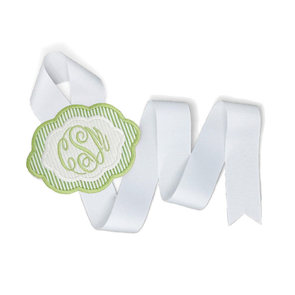 Green & White Bow Holder (Small)