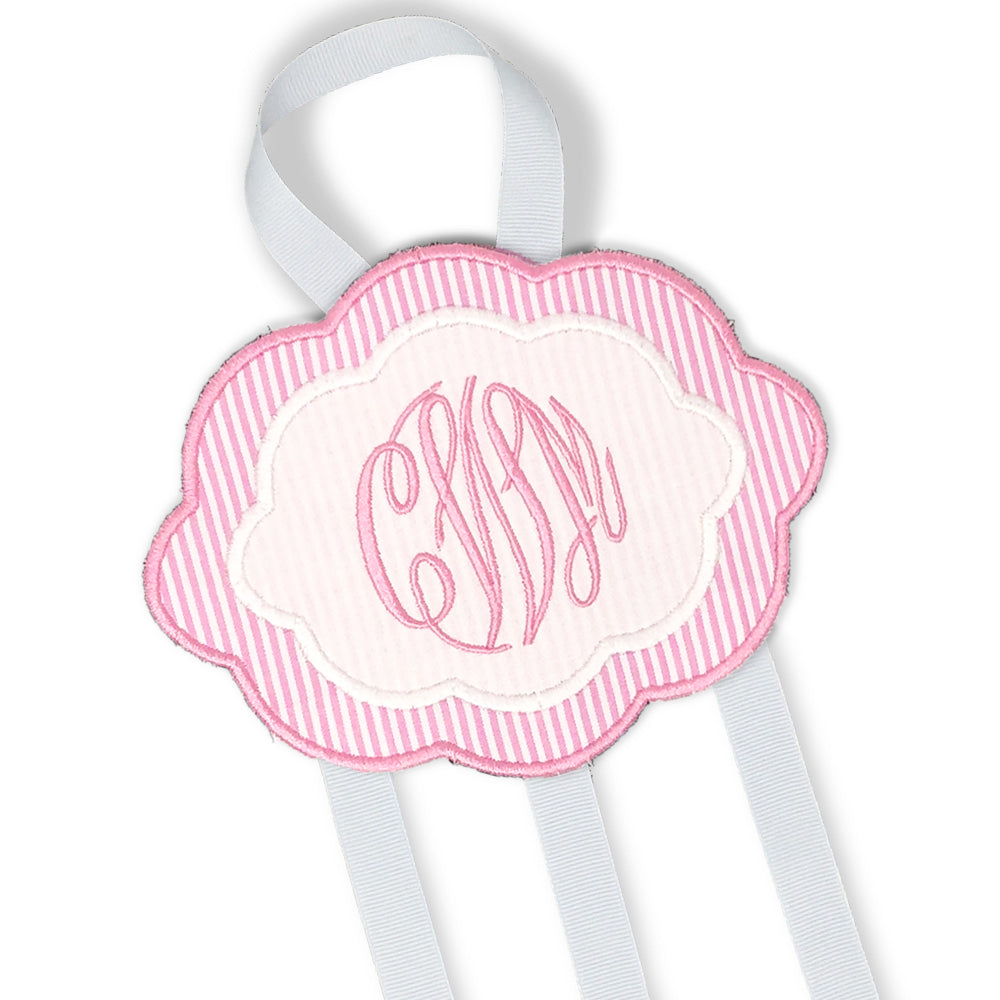 Pink & White Bow Holder-Miss Monogram