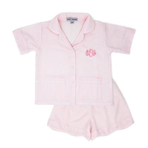 Pink Striped PJ Shorts Set-Miss Monogram