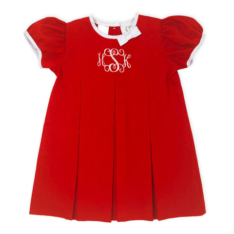 Red Pleated Dress-Miss Monogram