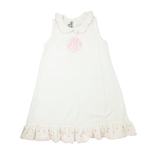 White Nightgown with Pink Trim-Miss Monogram