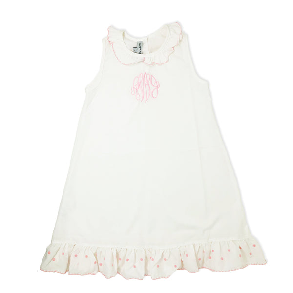 PRE-ORDER: White Nightgown with Pink Trim-Miss Monogram