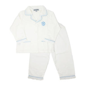 White Pajamas with Blue Piping-Miss Monogram