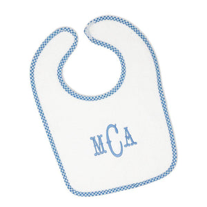 Blue Gingham Bib-Miss Monogram