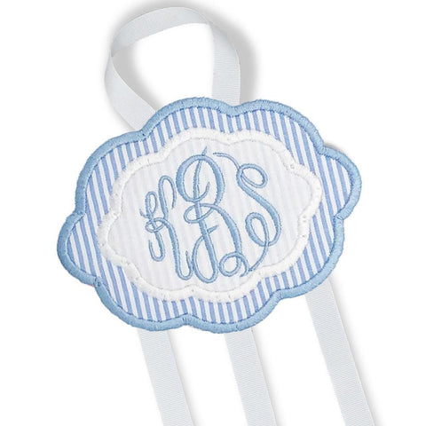 Blue & White Bow Holder-Miss Monogram