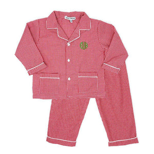Boys Red Gingham Pajamas-Miss Monogram