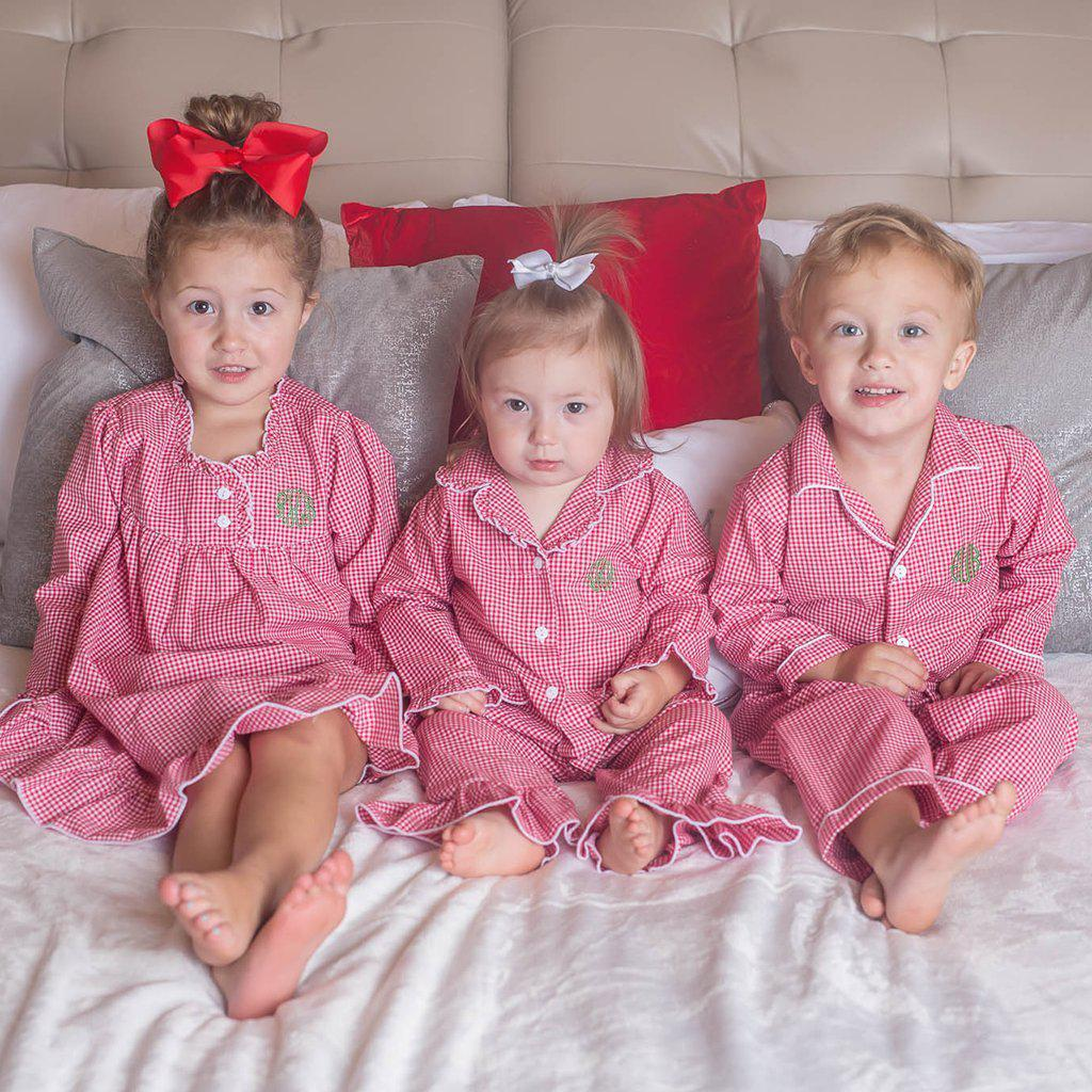 Girls Red Gingham Pajamas-Miss Monogram