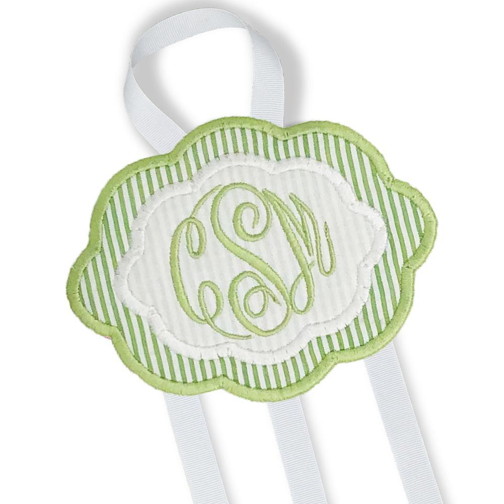 Green & White Bow Holder (Large)-Miss Monogram