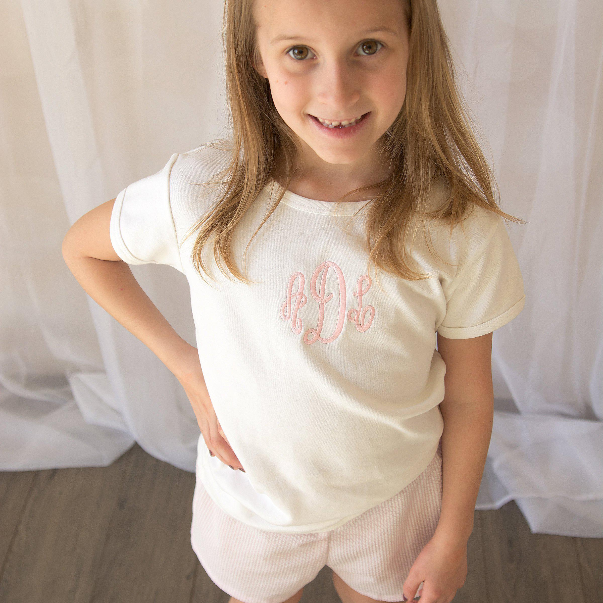 Monogrammed Tee for Girls-Miss Monogram