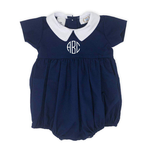 Navy Blue Boy's Bubble-Miss Monogram