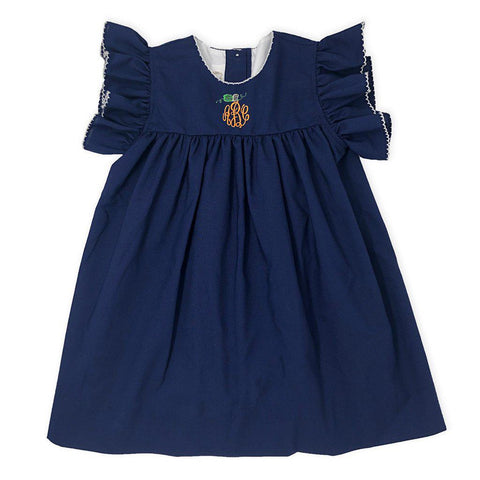 Navy Pumpkin Dress-Miss Monogram