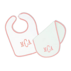 Pink Gingham Bib and Burp Cloth-Miss Monogram