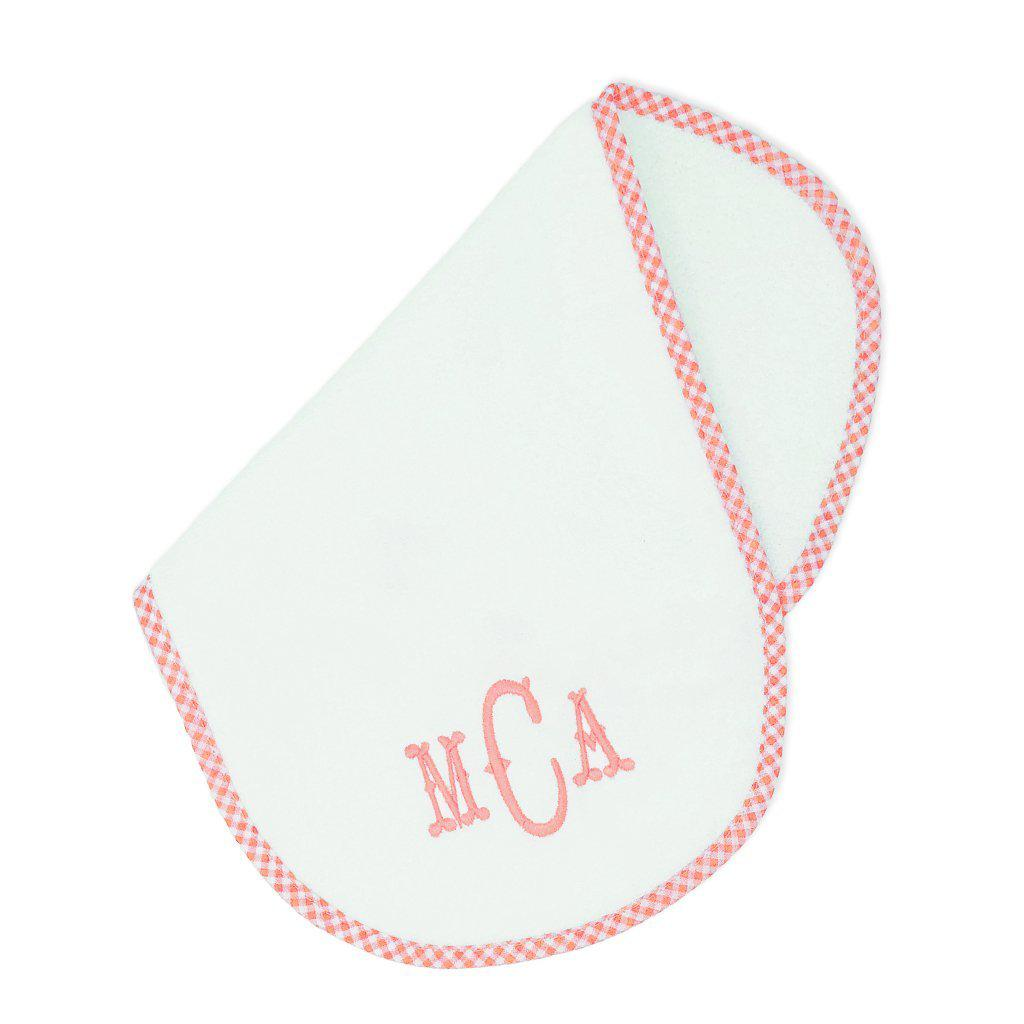 Pink Gingham Burp Cloth-Miss Monogram
