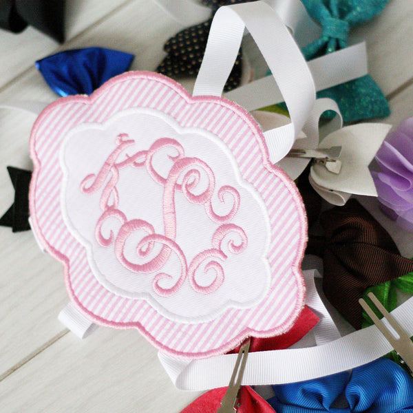 Pink & White Bow Holder (Large)-Miss Monogram