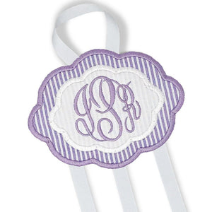 Purple & White Bow Holder (Large)-Miss Monogram