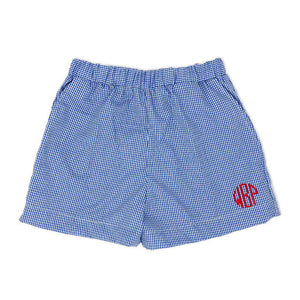 Royal Blue Gingham Shorts-Miss Monogram