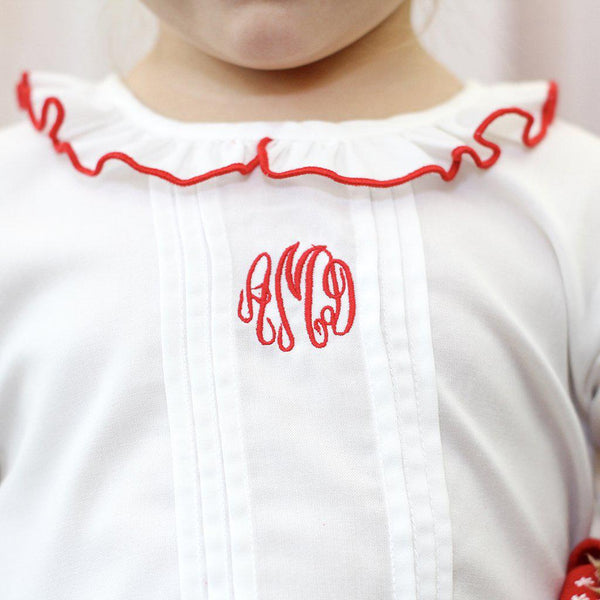 White Nightgown with Red Trim-Miss Monogram