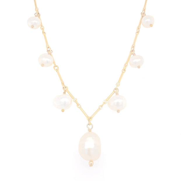 Nirvana necklace. 14k gold filled. Large baroque freshwater pearl. Non tarnish. Water safe.