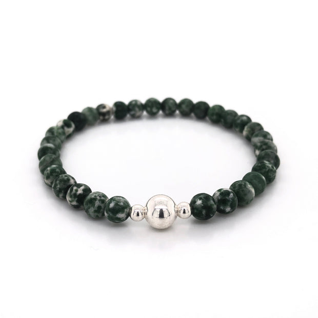 Green Spot Jasper Gemstone Mens Bracelet on Stretch Cord