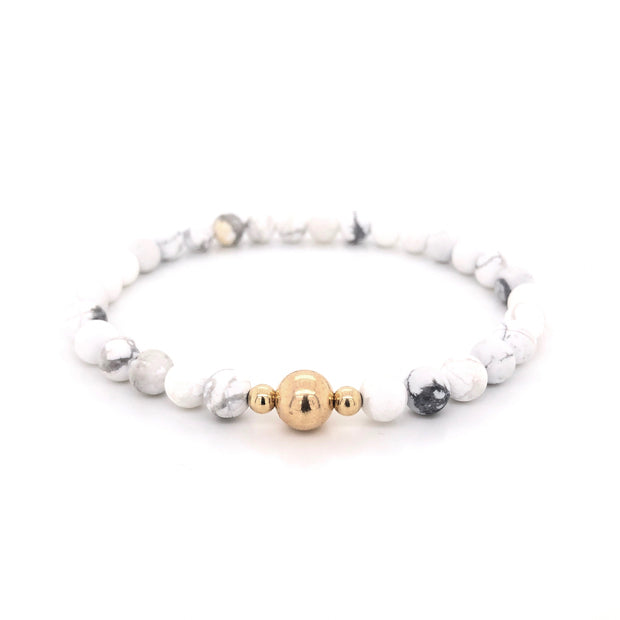 Howlite Gemstone Mens Bracelet on Stretch cord