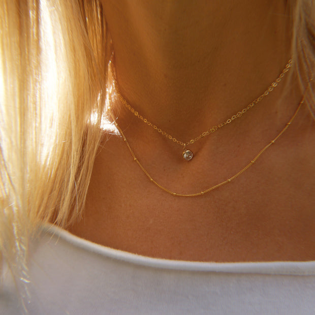 Tia choker. 14k gold filled. Cubic zirconia. Non tarnish. Water safe.