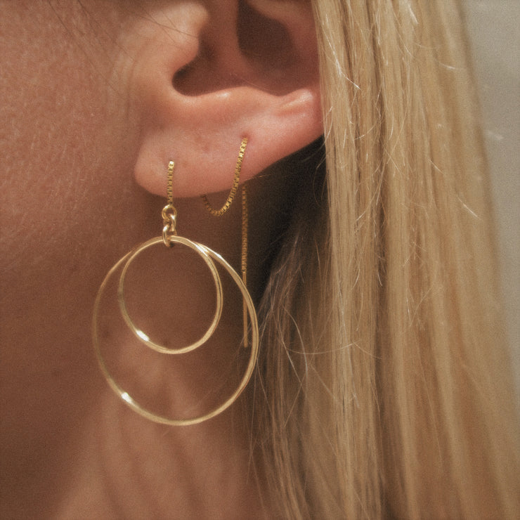 Eclipse threaders. 14k gold filled. Hoops. Non tarnish. Water safe.