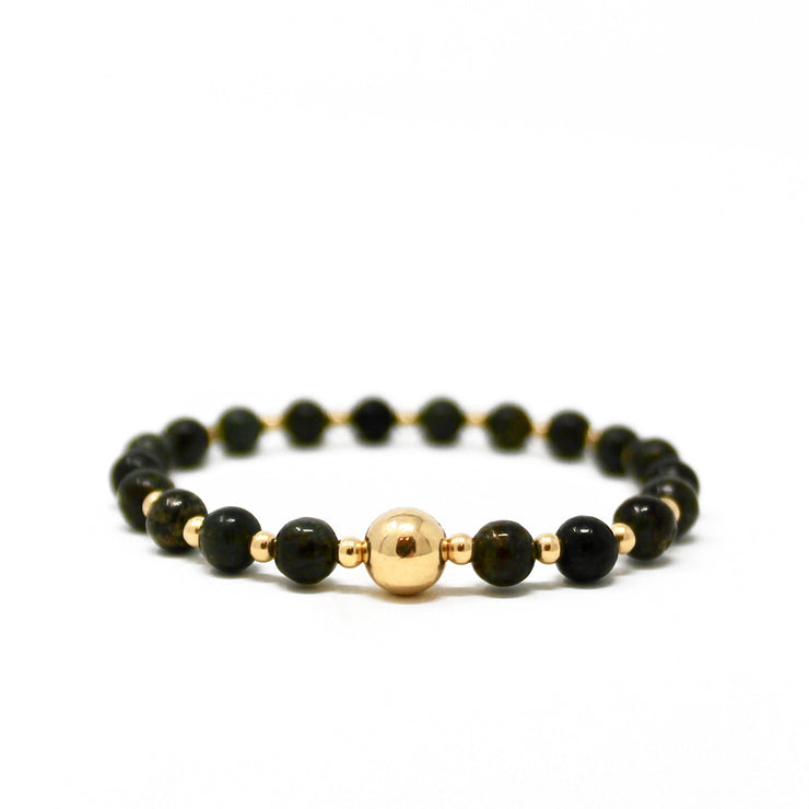 The Tommy bracelet. 14k gold filled. Stretch elastic cord. Non tarnish. Water safe. Astrophyllite beads.