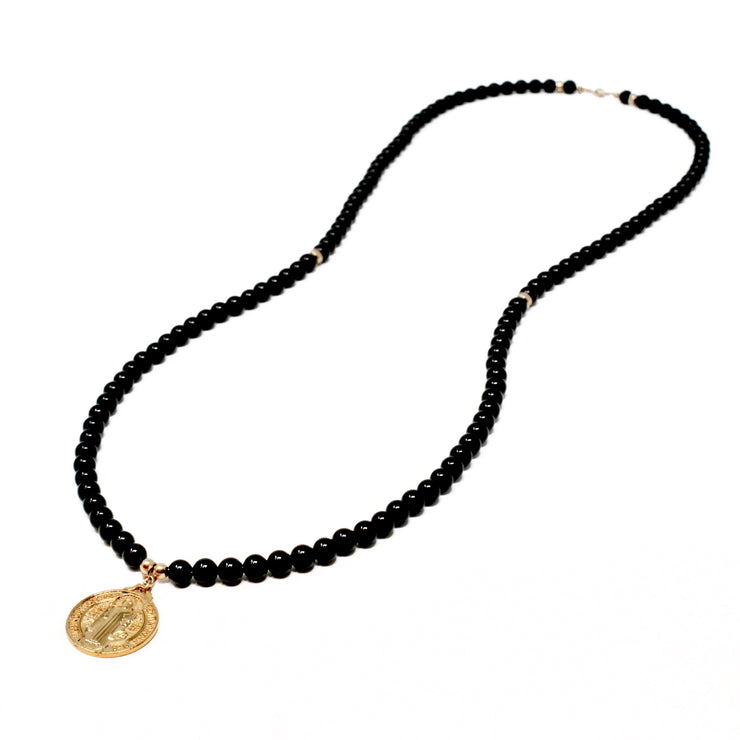 Benny Necklace. 18K Gold Fill Saint Benedict Pendant with Black Onyx. Non-Tarnish and Water Safe.