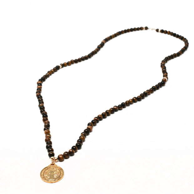 Benny Necklace. 18K Gold Fill Saint Benedict Pendant with Tiger's Eye. Non-Tarnish and Water Safe.