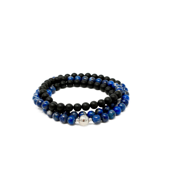 The bruiser wrap bracelet. 925 sterling silver. Matte black onyx. Lapis lazuli. Stretch elastic cord. Non tarnish. Water safe.