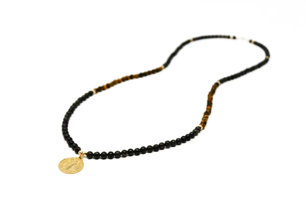 Benny Necklace. 18K Gold Fill Saint Benedict Pendant with Green and Brown Tiger's Eye. Non-Tarnish and Water Safe.