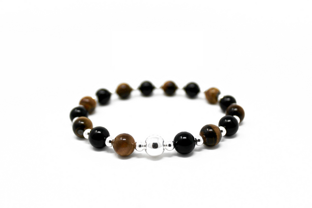 The Big Tommy bracelet. 925 sterling silver. Non tarnish. Water safe. Stretch elastic cord. 8mm tigers eye beads. 8mm black onyx beads.