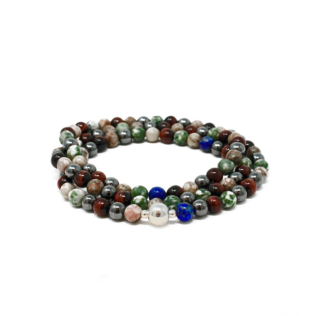 Collins Street Wrap. Sterling Silver Beads with Green Spot Jasper, Hematite, Fossil Jasper, Red Tiger's Eye and Lapis Lazuli on stretch cord. Non-Tarnish and Water Safe.