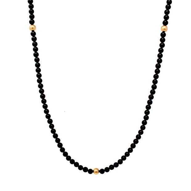 Dark Knight Necklace. 14K Gold Fill Beads and Matte Black Onyx. Non-Tarnish and Water Safe.