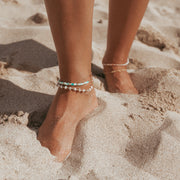Venus anklet. 14k gold filled. Freshwater pearls. Double bead. Non tarnish. Water safe.