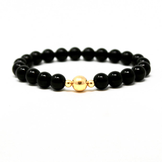 Dark Knight Bracelet. 14K Gold Fill Beads and Black Onyx. Non-Tarnish and Water Safe.