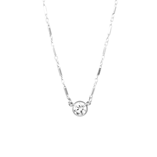 Glenna choker necklace. Sterling silver. Chain. Cubic zirconia. Non tarnish. Water safe.