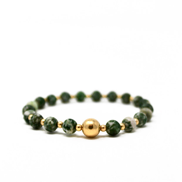 The Tommy bracelet. 14k gold filled. Stretch elastic cord. Non tarnish. Water safe. Green spot jasper.