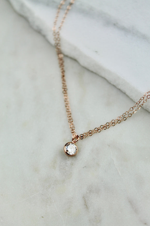 Tia choker. 14k rose gold filled. Cubic zirconia. Non tarnish. Water safe.