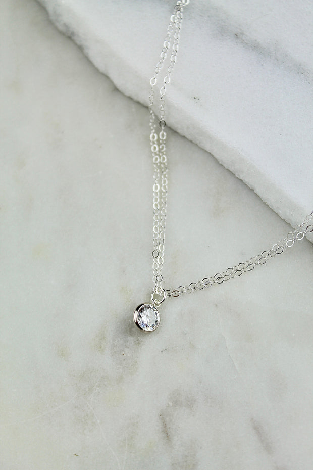 Tia choker. Sterling silver. Cubic zirconia. Non tarnish. Water safe.