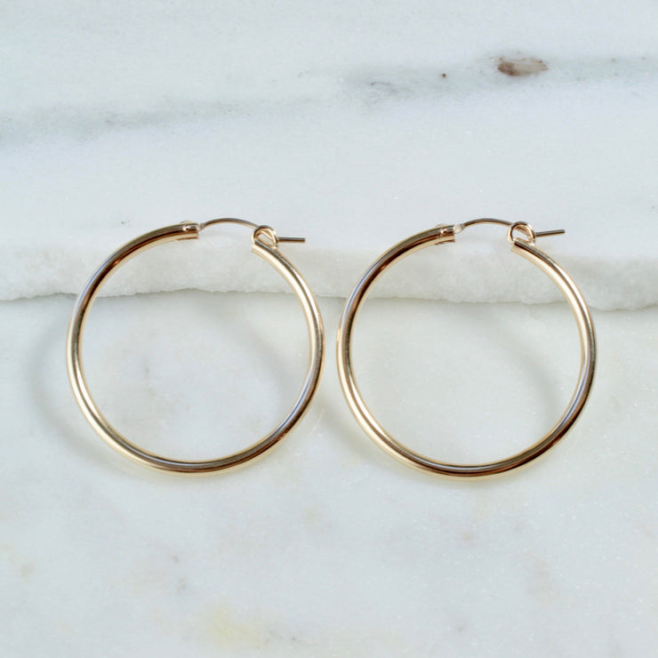 Gracie hoops earrings. 14k gold filled. Non tarnish. Water safe.