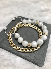 Mens Bracelet Howlite Gold Macrame gemstone beaded bracelets