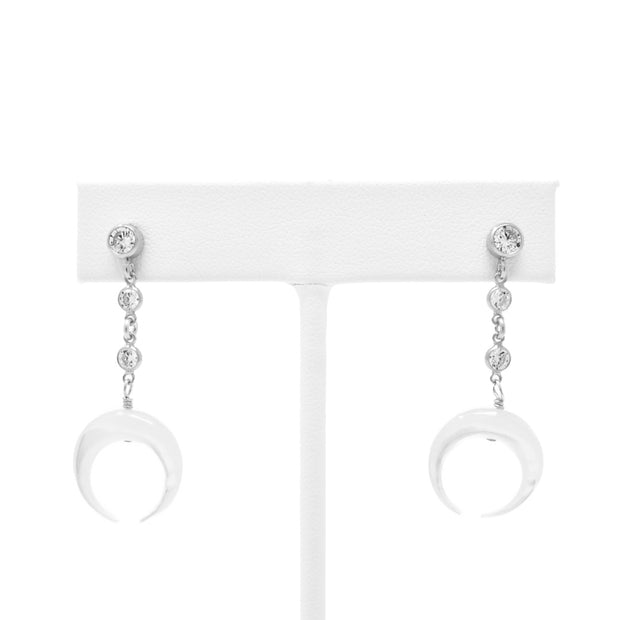Leo light drop earrings. Sterling silver. Cubic zirconia. Mother of pearl. Crescent moon.