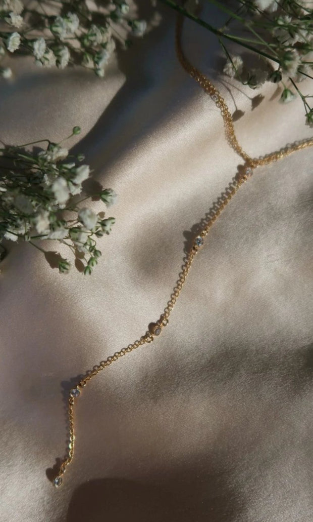 Kendall choker necklace. 14k gold fill. Cubic zirconia. Lariat drop. Non tarnish. Water safe.