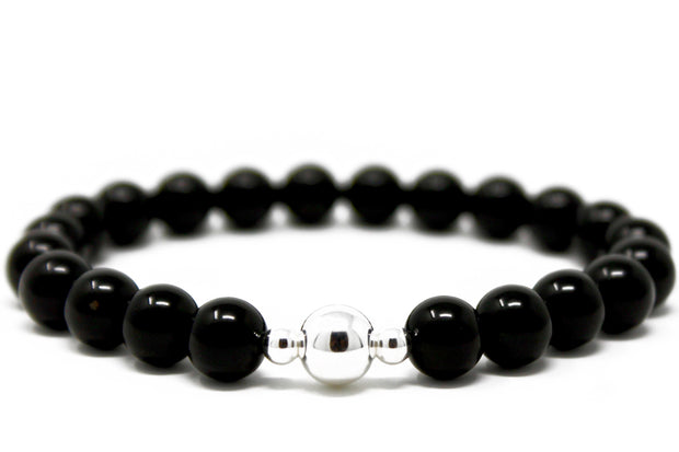Dark Knight Bracelet. Sterling Silver Beads and Black Onyx. Non-Tarnish and Water Safe.