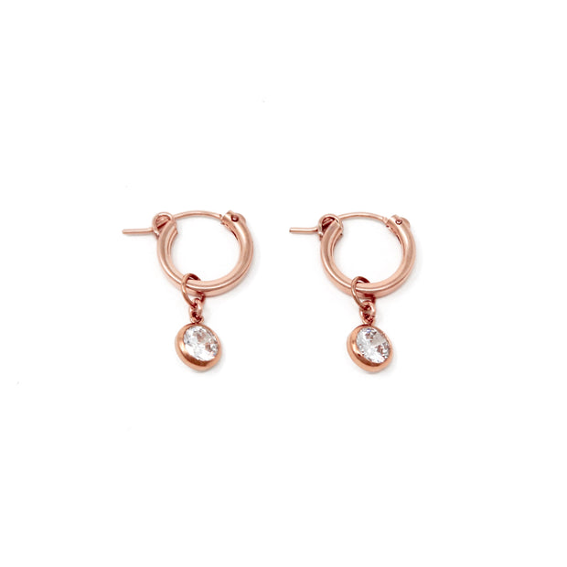 Tia hoop earrings. 14k rose gold filled. Cubic zirconia. Non tarnish. Water safe.