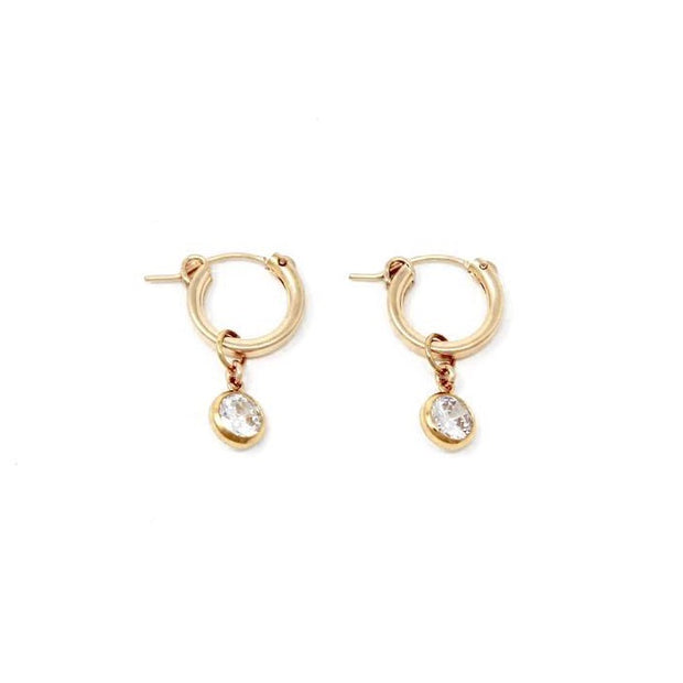 Tia hoop earrings. 14k gold filled. Cubic zirconia. Non tarnish. Water safe.