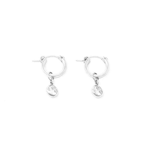 Tia hoop earrings. Sterling silver. Cubic zirconia. Non tarnish. Water safe.