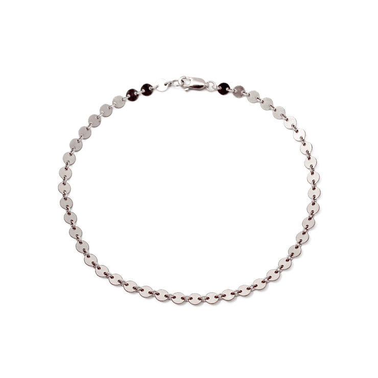 Love shack anklet. Sterling silver. Sterling silver discs. Non tarnish. Water safe.