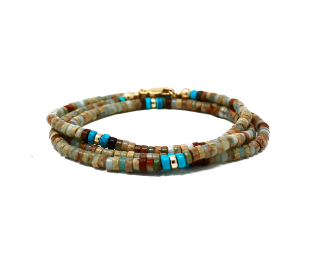The Moana wrap bracelet. 14k gold filled. Impression jasper. Turquoise. Flex wire. Stretch elastic cord. Non tarnish. Water safe.